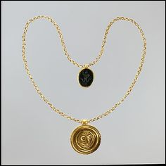 Necklace with Gold Marriage Medallion and Hematite Amulet, medallion 400–450, amulet 100–200. Byzantine. The Metropolitan Museum of Art, New York. Rogers Fund, 1958 (58.12) #wedding