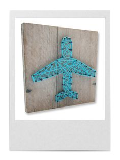 DIY string-art pattern gift box PLANE available at spijkerpatroon.nl