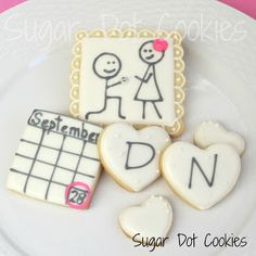 A cookie decorating diary. How to decorate sugar cookies with royal icing. Cupcakes, Cupcake Cookies, Sugar Cookies, Date Cookies, Crazy Cookies, Engagement Cookies, Engagement Parties, Wedding Engagement, Engagement Photos