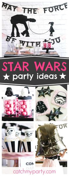 What an amazing pink & sparkly Star Wars birthday party for a girl! What an amazing pink & sparkly Star Wars birthday [. Star Wars Baby, Tema Star Wars, Star Wars Mädchen, Star Wars Girls, Star Wars Cookies, Star Wars Birthday, Girl Birthday, Birthday Diy, Birthday Ideas For Girls
