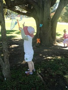 For a fun activity that hones motor planning and gives a great vestibular workout, tie paper butterflies to a tree and allow children to use nets to catch them. Vestibular Activities, Children's Day Activities, Teaching Activities, Early Childhood Activities, Motor Planning, Butterfly Birthday Party, Pediatric Occupational Therapy, Teaching Colors, Sensory Issues