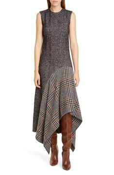 Women's Oscar De La Renta Asymmetrical Flannel & Tweed Midi Dress, Size 12 - Grey Source by nordstrom dresses Look Fashion, Womens Fashion, Fashion Design, Skinny Jeans Damen, Mode Outfits, Club Outfits, Nordstrom Dresses, Frocks, Fashion Dresses