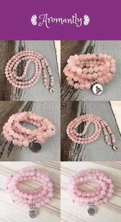 The Open Heart Rose Quartz Mala Bracelet/Necklace Rose Quartz Bracelet, Quartz Jewelry, Quartz Necklace, Healing Crystal Jewelry, Jewelry Collection, Crochet Necklace, Crystals, Heart, Bracelets