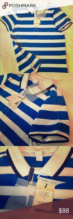 Burberry kids collection Blue stripes polo. New with tags. Burberry Shirts & Tops Polos