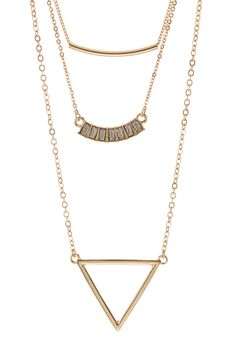 Stephan & Co | Multi Triple Layer Geo Necklace | Nordstrom Rack