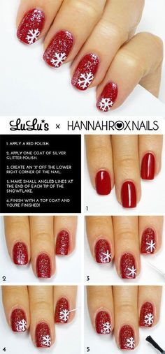 Cute red glitter nails with white free hand snowflakes christmas / holiday nail art tutorial / Diy Christmas Nail Art, Christmas Nail Art Designs, Holiday Nail Art, Winter Nail Art, Winter Nails, Christmas Decorations, Christmas Holidays, Christmas Glitter, Winter Art