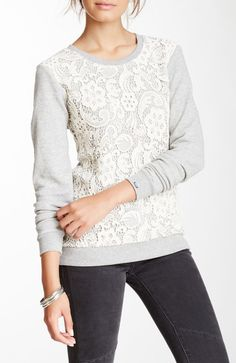 French Terry Lace Hi-Lo Top