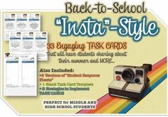 1000 images about teaching back to school intro high for Blank task card template