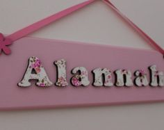 Children 39 s wooden bedroom door sign name plaque with 3d lettering pretty pink and white for Childrens bedroom door name plates