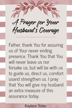 Strengthen your marriage through prayer! Use this Scripture prayer for your husband's courage to help your husband rely on God for strength and courage in all seasons of life. || Kaylene Yoder Prayer For Courage, Prayer For My Marriage, Relationship Prayer, Prayer For Wife, Prayer Of Thanks, Prayer For You, Marriage Life, Husband Prayer, Praying For Your Husband