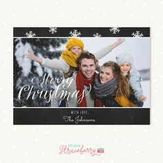Chalkboard Christmas card template Holiday by StudioStrawberry