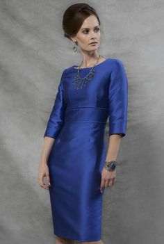 Shift Dress in Sapphire Silk Sateen with Sleeves - Andrea