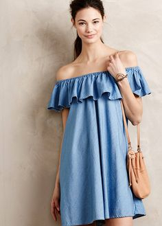 Spring / Summer - street chic style - boho chic style - beach style - light denim off shoulder ruffled neckline dress + light brown cross body bag