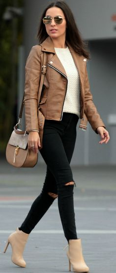 Camel Biker Jacket Fall Street Style women fashion outfit clothing stylish apparel