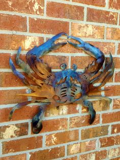 Crab Crabby Blue Crustacean Seafood Steel Wall Art by Damrill, $125.00