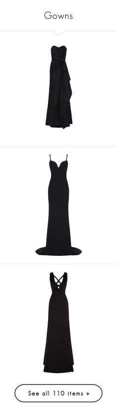 """""""Gowns"""" by heloisacintrao ❤ liked on Polyvore featuring dresses, gowns, black, formal evening gowns, formal ball gowns, strapless evening dresses, strapless bustier, silk evening dresses, long dresses and vestidos"""