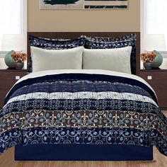 8-Piece Set: Striped Medallion Comforter Collection