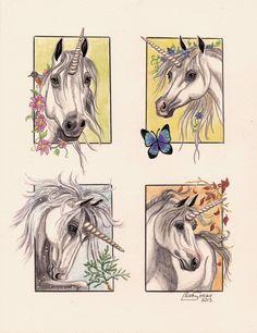 Unicorn Seasons by Artsy50 on DeviantArt Unicorn Fantasy Myth Mythical Mystical Legend Licorne Enchantment Einhorn unicorno unicornio Единорог jednorožec Eenhoorn yksisarvinen jednorożca unicórnio Egyszarvú Kirin