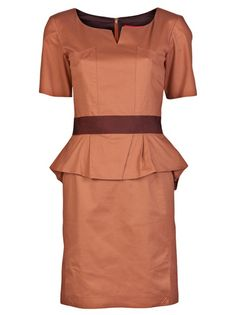 Peplum dress in rust from Z Spoke. This cotton stretch short-sleeve shift dress features a round neckline with center slit, grosgrain ribbon waist band with peplum ruffle, and back concealed zipper.closure.