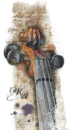 Aquarell Painting - Violin 01 Elena Yakubovich by Elena Yakubovich wasserfarben, Violin 01 Elena Yakubovich Violin Painting, Violin Art, Violin Music, Painting & Drawing, Violin Drawing, Violin Tattoo, Violin Sheet, Music Music, Music Notes