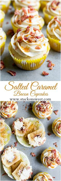 Salted Caramel Bacon Cupcakes {Giveaway Closed} Disclosure: This is a sponsored post written by me on behalf of Farmland. All opinions are my own. Thanks to my readers and brands for helping me make Stuck On Sweet possible! xoxo There is also a HUGE g Gourmet Cupcakes, Savory Cupcakes, Bacon Cupcakes, Cupcake Flavors, Savoury Cake, Mocha Cupcakes, Unique Cupcake Recipes, Strawberry Cupcakes, Velvet Cupcakes