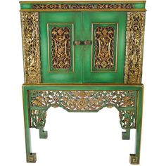 Assemblage Ltd. - Emerald Green Chinese Cabinet Inset With Antique... ❤ liked on Polyvore featuring home, furniture, storage & shelves, interior, gilt furniture and emerald green furniture