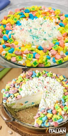 Lucky Charms No-Bake Pie Lucky Charms No-Bake Ice Box Pie is Magically Delicious! This fairytale pie all starts with a Lucky Charms pie crust topped with an enchanted confetti cloud pie filling. Sweet Desserts, Easy Desserts, Dessert Recipes, Freezer Desserts, Cereal Recipes, Yummy Treats, Sweet Treats, Yummy Food, Tasty
