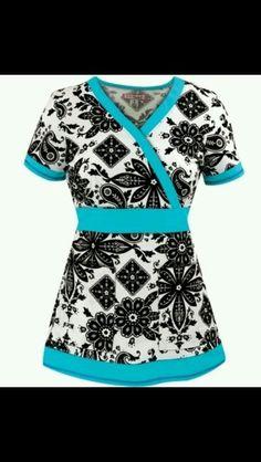 Black and White Bandana Print Women's Scrub Top with Blue Trim Más Cute Scrubs, Koi Scrubs, Medical Scrubs, Nursing Scrubs, Work Uniforms, Nursing Uniforms, Scrubs Uniform, Nursing Clothes, Bandana Print