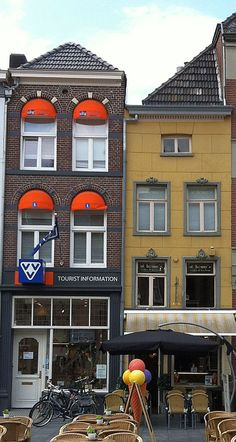 Tall, narrow buildings-- Roermond, Holland.