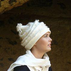 Felted Hat Handmade Merino wool   A unique white cap by MajorLaura Felt Hat