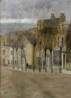 """Oil painting from the Fine Art collection. """"Dyke Road, Brighton"""" by R. A. F. Guimaraens, showing a view down Dyke Road towards the sea. 20th Century."""