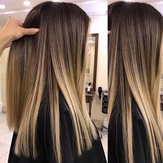 20 hair color trends for fall and winter 2019 highlights 06 - Brown Ombre Hair, Ombre Hair Color, Hair Color Balayage, Ombre Hair Style, Balayage On Straight Hair, Balayage Hair Dark Blonde, Haircolor, Straight Hair Highlights, Bayalage