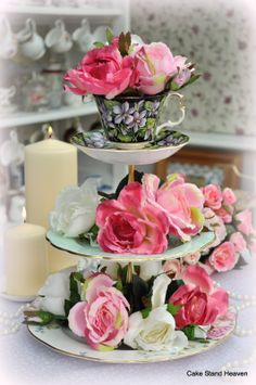 mixed china cake stand decorated with pink and white roses. The ...1063 x 1600237.3KBvintagecakestands.blogspot....