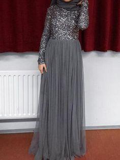 Sum All Chic, Shop Grey Patchwork Sequin Grenadine Muslim Sparkly Wedding Banquet Party Maxi Dress online. Muslim Evening Dresses, Hijab Evening Dress, Hijab Dress Party, Hijab Style Dress, Floral Dress Outfits, Hijab Gown, Abaya Fashion, Muslim Fashion, Skirt Fashion