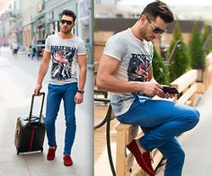 RAFAL MASLAK - Zuelements T Shirt, Bonavita Trousers, Guess? Watch, Sparco Shoes, Dsquared Sunglasses, Tommy Hilfiger Carpetbag, Tommy Hilfiger Wallet - OUTFIT OF THE DAY #26