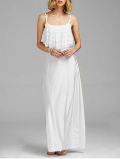 #RoseGal.com - #RoseGal Lace Trim Backless Spaghetti Strap Floor Length Dress - AdoreWe.com