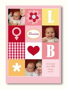 Baby- & Geburtskarten - Karte zur Geburt oder Taufe 07 Mädchen - ein Designerstück von Liebesdienst bei DaWanda