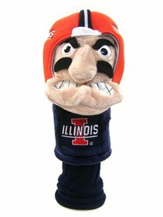 Team Golf NCAA Illinois Fighting Illini Mascot Head Cover: Fits most oversized drivers. Extra-long sock for shaft protection. Mens Golf Clubs, Golf Head Covers, Team Mascots, Golf Drivers, School Spirit, Sports Equipment, Illinois, Plush, Teddy Bear