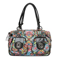 Mimco's signature big button bag...with a dash of florals! Love!    TIGER EYE METAL BUTTON ZIP TOP