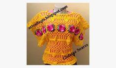 Amor a Arte: Blusa flores Duna crochê de grampo versão da blusa da apresentadora Ana Maria Braga
