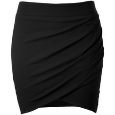 HELMUT LANG Crepe Twisted Mini-Skirt (190 CAD) ❤ liked on Polyvore featuring skirts, mini skirts, bottoms, saias, faldas, black skirt, black elastic waist skirt, black wrap skirt, elastic waist mini skirt and short skirts