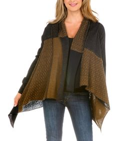Take a look at this Black & Brown Lattice Wool-Blend Open Cardigan - Women & Plus by Gizel on #zulily today!