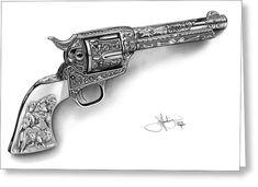 Colt Revolver Drawing Metal Print by John Harding Revolver Tattoo, Revolver Pistol, Revolvers, 1911 Pistol, Tattoos For Guys, Tattoos For Women, Colt Single Action Army, Cool Guns, Forearm Tattoo Men