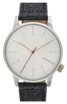 'Winston' Round Dial Leather Strap Watch, 44mm