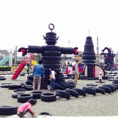 Awesome Playground fun at Nishi-Rokugo Tyre Park in Tokyo