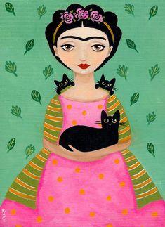 Fridas Black Cats Original Cat Folk Art Painting por KilkennycatArt: