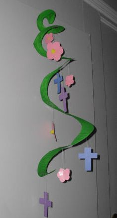 How to Make a Colorful Easter Flowers and Cross Mobile Bible Craft for Kids