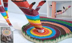 Artist uses thousands of crayons to create mesmerizing sculptures