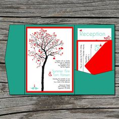Wedding Invitation DIY Pocketfold Heart Tree by ticklemeink