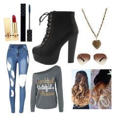 A fashion look from December 2016 featuring collar t shirt, print skinny jeans and lace-up wedge booties. Browse and shop related looks. Yves Saint Laurent, Rosalie, Printed Skinny Jeans, Gucci, Ray Ban, Lace Up Wedges, Polyvore, Fashion Looks, Booty
